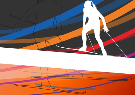 women sport: Active young women skiing sport silhouettes in winter abstract line background outdoor illustration vector