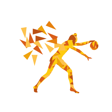 arte abstracto: Gimnasta con pelota de gimnasia ilustración de arte abstracto del vector del fondo hecha de fragmentos de polígono aislado en blanco
