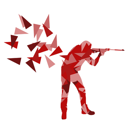 Man with rifle vector background sport concept made of polygon fragments isolated on white Illustration