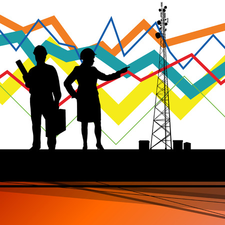 repeater: Economics data chart and engineers silhouettes and mobile phone telecommunications radio tower base station with in abstract background vector illustration Illustration