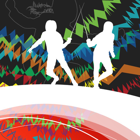 women sport: Active men and women fencing sport silhouettes in abstract line background illustration vector