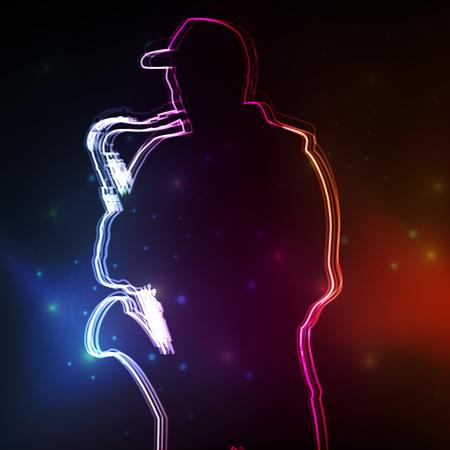 saxophonist: Saxophonist plays vector neon background concept Illustration