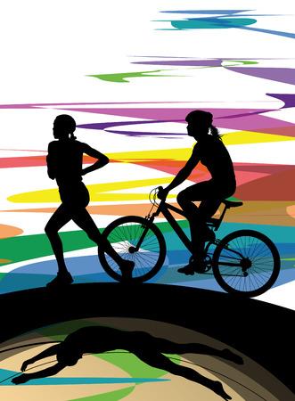 Triathlon Marathon Frauen Schwimmen Radfahren und Laufen Sport Silhouetten Vektor abstrakten Hintergrund Illustration