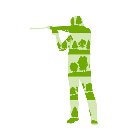 sniper: Hunter silhouette with rifle vector background concept made of forest trees fragments isolated on white