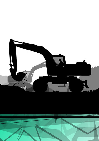 mine site: Digger excavator machinery digging action in construction site abstract vector background concept