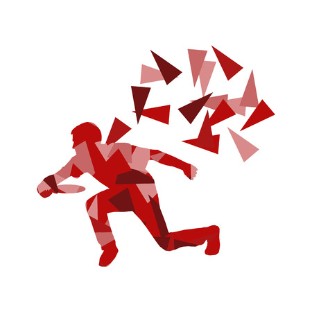 fragments: Man throwing flying disc vector background concept made of polygon fragments isolated on white Illustration