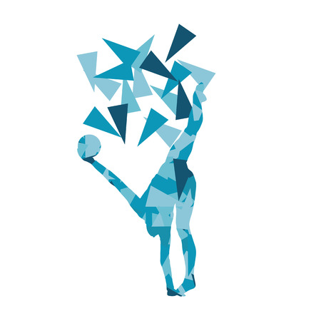 Gymnast with ball Art gymnastics abstract vector background illustration made of polygon fragments isolated on white