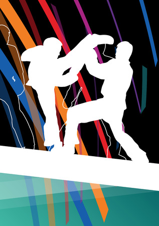 self  defense: Young children taekwondo martial arts fighters combat fighting and kicking sport silhouettes abstract illustration background vector