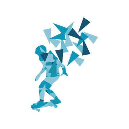 boarding card: Skateboarder vector background abstract concept made of polygon fragments isolated on white