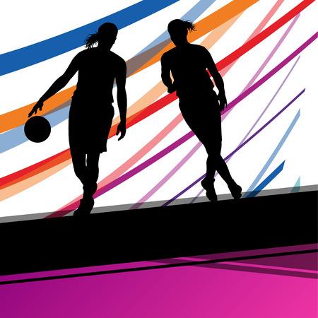siluetas de mujeres: jóvenes jugadores de baloncesto mujeres activas siluetas de deporte sano vector de fondo ilustración