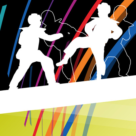 Young children taekwondo martial arts fighters combat fighting and kicking sport silhouettes abstract illustration background vector
