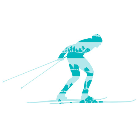 cross country: Cross country skiing man vector background abstract concept made of forest trees fragments isolated on white Illustration