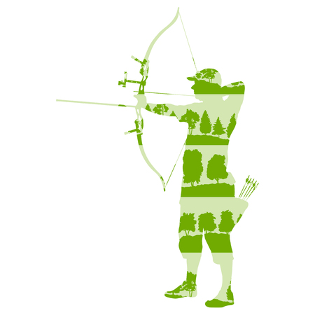 man made: Archer man with bow and arrow vector background abstract illustration concept made of forest tree fragments isolated on white Illustration