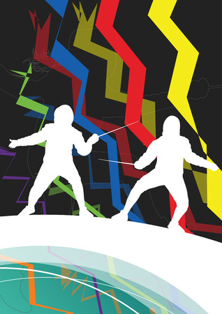 defeated: Active men and women fencing sport silhouettes in abstract line background illustration vector
