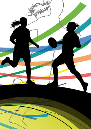 tough girl: Active women rugby players young healthy sport silhouettes abstract line vector background illustration