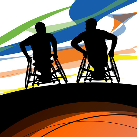crippled: Men in a wheelchair disabled medical health silhouette abstract background vector illustration