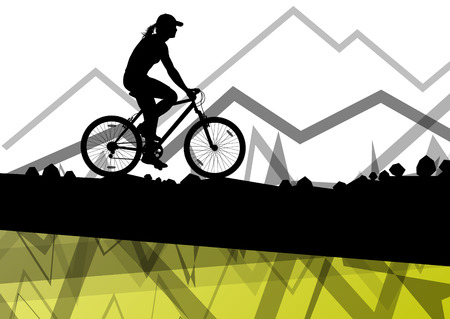 biking: Women cyclist bicycle rider sport silhouette in mountain wild nature landscape background illustration vector