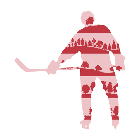 Ice hockey player silhouette vector background concept made with forest trees fragments isolated on white Illustration