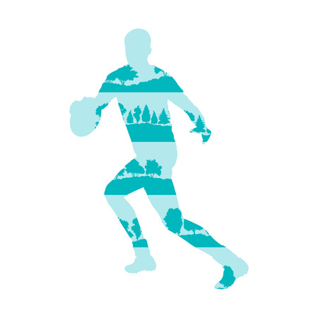 tackling: Rugby player silhouette vector abstract background made of forest trees fragments isolated on white