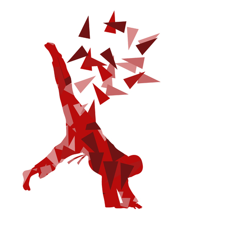 Judo kid vector martial art child fight abstract illustration concept made of polygon fragments isolated on white