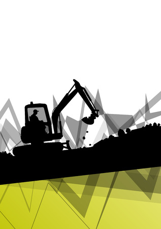 trencher: Digger excavator machinery digging action in construction site abstract vector background concept