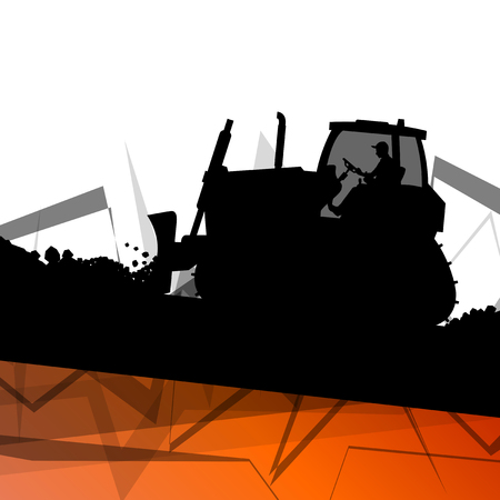 Digger excavator machinery digging action in construction site abstract vector background concept
