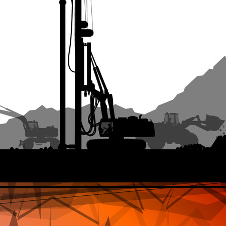 Construction site excavator tractors hydraulic pile drilling machines and workers digging at industrial construction site abstract vector background illustration Vektorové ilustrace