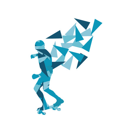fragments: Skateboarder vector background abstract concept made of polygon fragments isolated on white