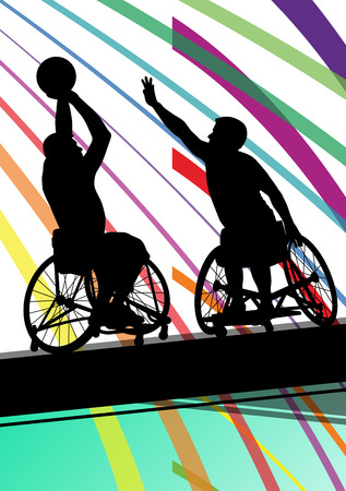 disabled sports: Disabled men basketball players in a wheelchair detailed sport concept silhouette illustration background vector