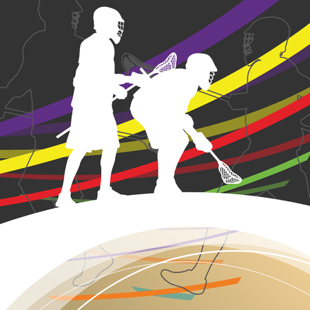 indoor sport: Men active sport lacrosse players silhouettes abstract background illustration vector Illustration