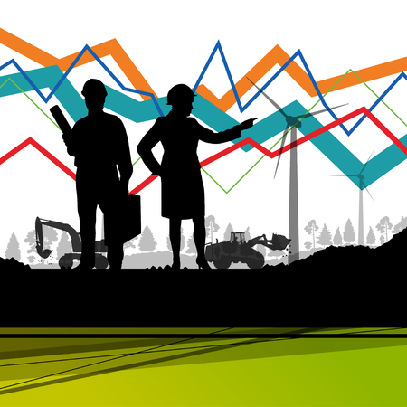 Economics data chart and engineers silhouettes and mobile phone telecommunications radio tower base station with in abstract background vector illustration Illustration