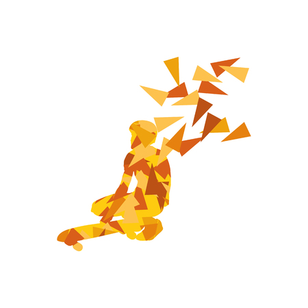 Skateboarder vector background abstract concept made of polygon fragments isolated on white