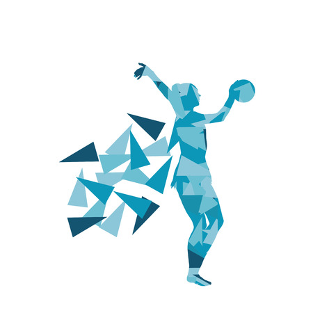 fragments: Gymnast with ball Art gymnastics abstract vector background illustration made of polygon fragments isolated on white