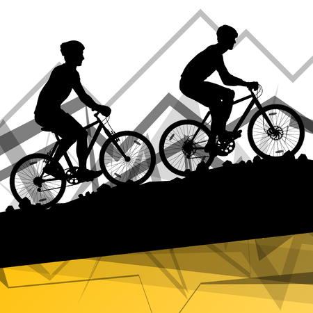Men cyclist bicycle rider sport silhouette in mountain wild nature landscape background illustration vector Illustration
