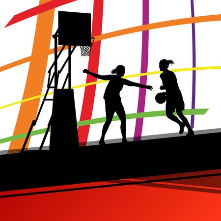 baloncesto chica: jóvenes jugadores de baloncesto mujeres activas siluetas de deporte sano vector de fondo ilustración