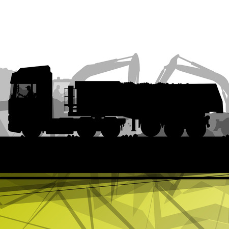 mine site: Truck and cargo in construction site with excavator tractors hydraulic machines and workers digging at industrial mine construction site abstract vector background illustration