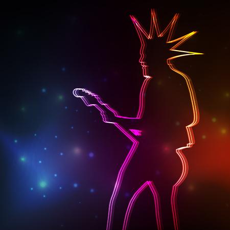punk rock: Punk Rock guitar player vector neon background concept Illustration