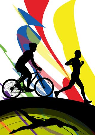 boy swim: Triathlon marathon men swimming cycling and running sport silhouettes vector abstract background illustration Illustration