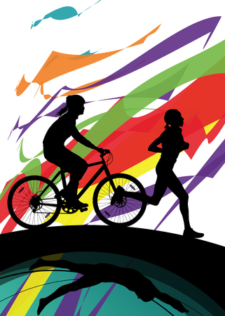 women sport: Triathlon marathon women swimming cycling and running sport silhouettes vector abstract background illustration