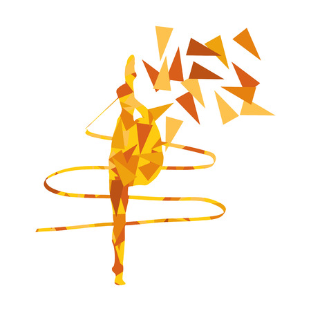 stage costume: Gymnastic woman with ribbon vector background illustration concept made of polygonal fragments isolated on white Illustration
