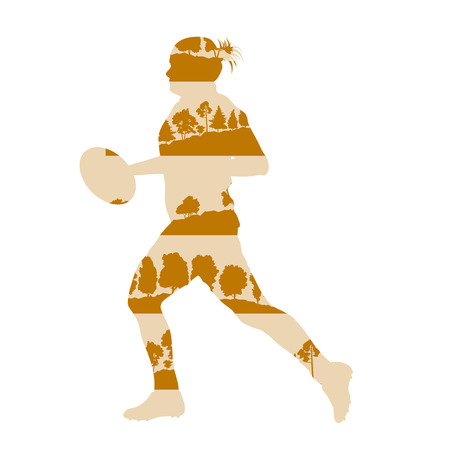 Rugby woman player active sport vector background illustration concept made of forest trees fragments isolated on white