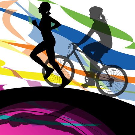 boy swim: Triathlon marathon women swimming cycling and running sport silhouettes vector abstract background illustration