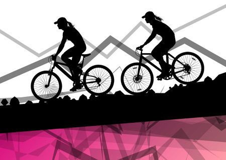 gravel: Women cyclist bicycle rider sport silhouette in mountain wild nature landscape background illustration vector