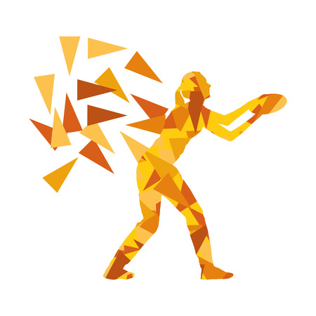 fragments: Woman throwing flying disc vector background concept made of polygon fragments isolated on white