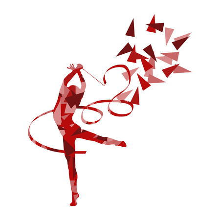 Gymnastic woman with ribbon vector background illustration concept made of polygonal fragments isolated on white Illustration