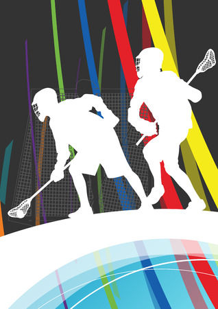 lesson: Men active sport lacrosse players silhouettes abstract background illustration vector Illustration