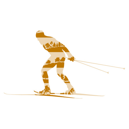crosscountry: Cross country skiing man vector background abstract concept made of forest trees fragments isolated on white Illustration