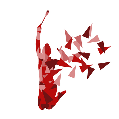 leotard: Rhythmic gymnastics woman performance with clubs vector abstract background illustration made of polygon fragments isolated on white