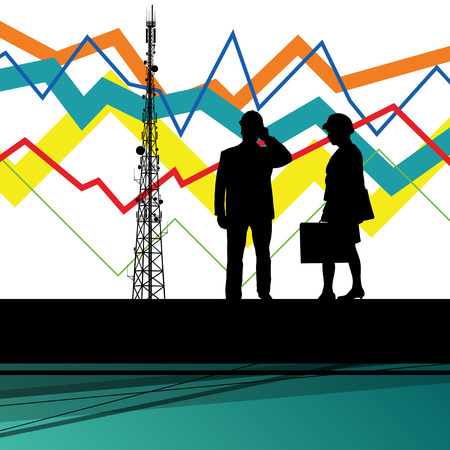 tv tower: Economics data chart and engineers silhouettes and mobile phone telecommunications radio tower base station with in abstract background vector illustration Illustration