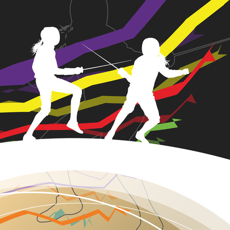 Active men and women fencing sport silhouettes in abstract line background illustration vector